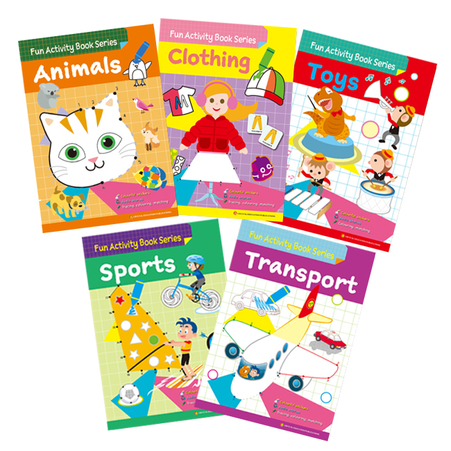 Fun Activity Book Series (5 books: Animals, Clothing, Sports, Toys, Transport)